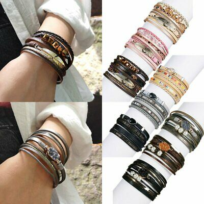 Women Multilayer Leather Magnet Wrap Bracelet Natural Stone Crystal Pearl Bangle (Crystal Pearl Wrap Bracelet)