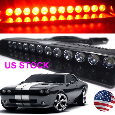 RED 12 LED Strobe Lamps SUV ATV Hazard Emergency Flashing Warning Light Bar US
