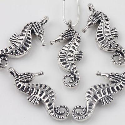 Horse Charms Pendants - Wholesale 15Pcs Tibet Silver Charms Pendants Sea Horse Necklace Pendeant 22x9mm