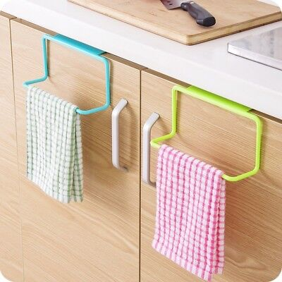 Kitchen Cabinet Door Single Bar Towel Rack Plastic Traceless Cloth Hanger Towel