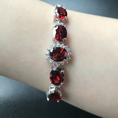 8mmx10mm Oval Red Ruby Cubic Zirconia CZ Flower Bracelet White Gold Filled 7