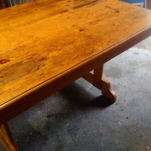 Stunning Distressed Antique Pine Harvest Table