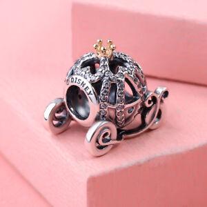 Genuine Pandora Silver & 14K Disney Cinderella Pumpkin Coach Charm Bead 791573CZ