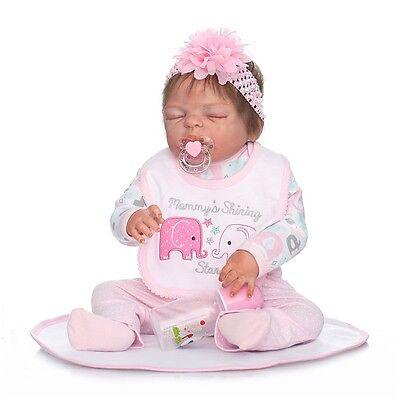 22'' Realistic Handmade Newborn Full Body Silicone Reborn Baby Doll Vinyl Girls