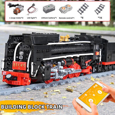STEAM LOCOMOTIVE TRAIN Model Set Building Blocks DIY RC Toy Christmas Gifts Kids