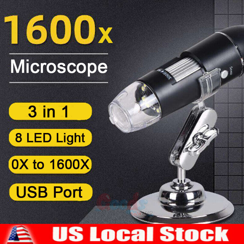 3IN1 8LED 1600X 10MP USB Digital Microscope Endoscope Magnifier Camera+Stand