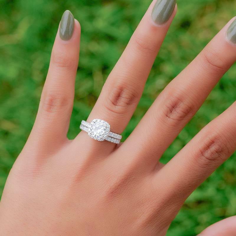 Fashion White Silver Rings Set Women Wedding Engagement Jewelry