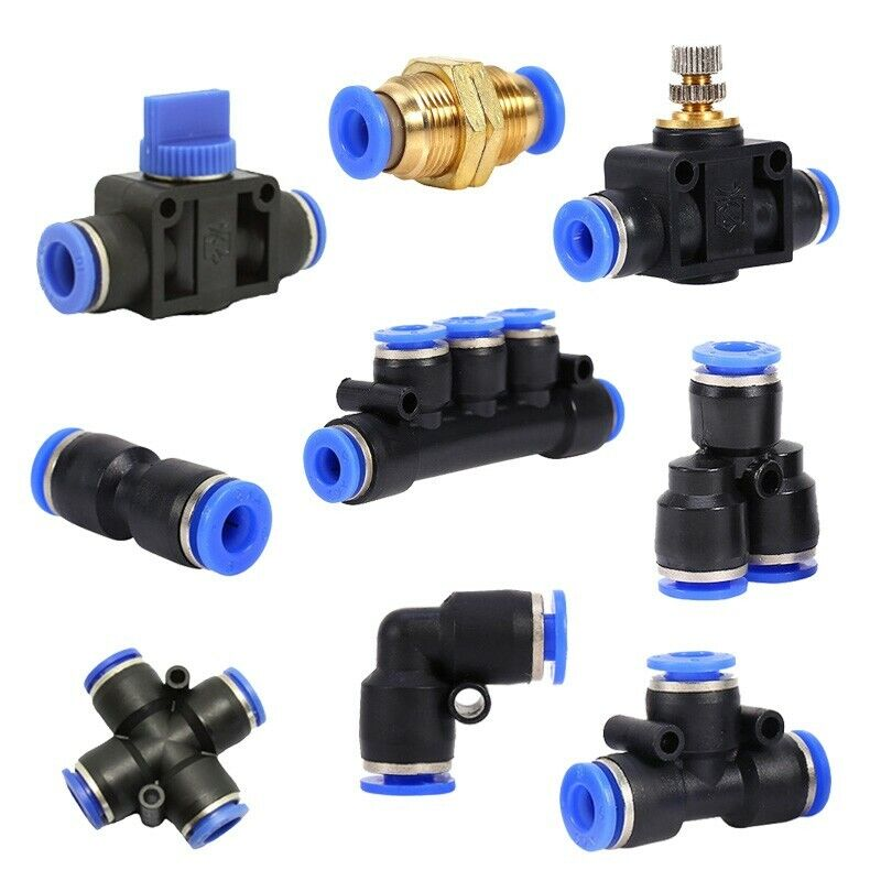 6/8/10/12mm Pneumatic Push In Fitting Air Valve Water Hose Pipe Joiner Connector