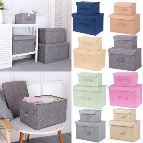 ✅2/4X Aufbewahrungsbox Aufbewahrungs Korb mit Deckel Faltbar Leine für Kleidung