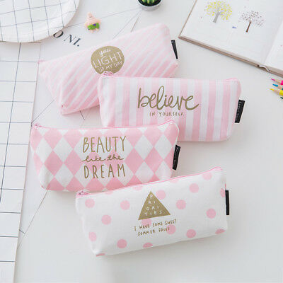 Pink Pouch - Pink Pencil Case Pen Box School Stationery Cosmetic Makeup Pouch Zipper Bag
