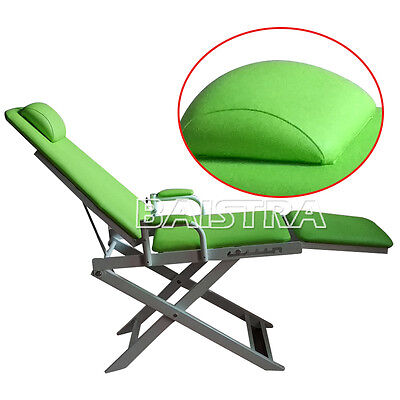 Dental Portable Folding Chair Green Hard Leather On Sale !