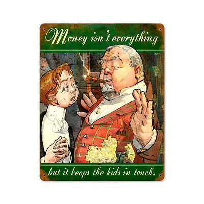 Vintage Style Retro Money Keeps The Kids Steel Sign 12 x18