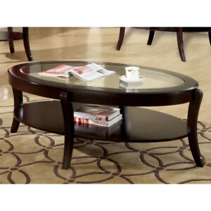 Beautiful Oval Espresso colour Coffee Table (MISSING GLASS)