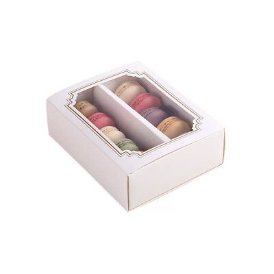 Cute White Boxes w/ Window | for Macaron/Cookie/Chocolate Party Gift | 6 cts (Macaron Box)