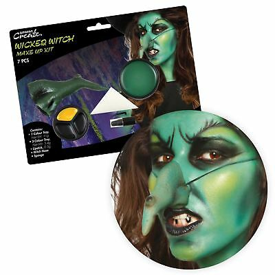 Ladies Wicked Witch Makeup SFX Kit Nose Halloween Magic Black Spell Accessory
