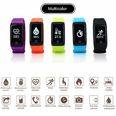 US Sports Blood Pressure Oxygen Heart Rate Smart Band Bluetooth Bracelet Watch