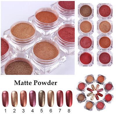 - 2g/box Nail Art Matte Glitter Powder Gold Red Series Manicure Pigment 8 Colors