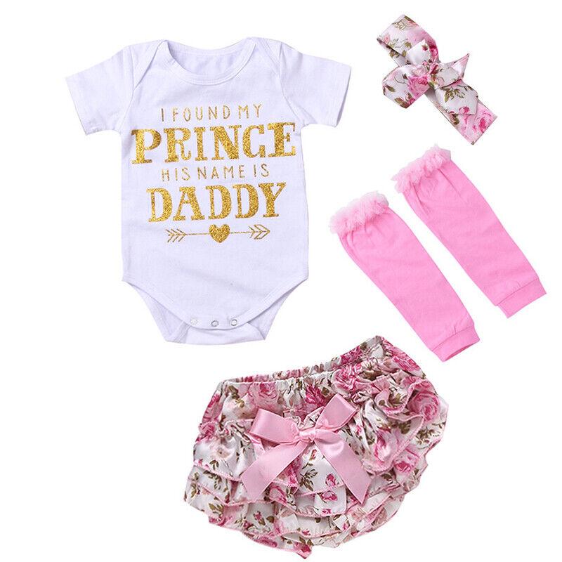 Neugeboren Baby Mädchen Strampler Body Shorts Stirnband Strümpfe Outfit Kleidung