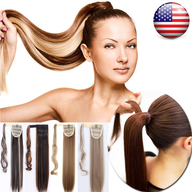100% Real New Clip In Hair Extension Pony Tail Wrap Around P