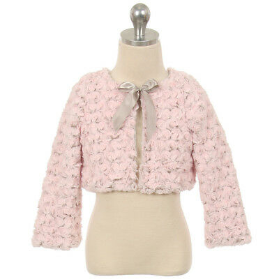 Pink Silver Little Girl Two Tone Fur Bolero for Any Dress Size - Pink Dresses For Little Girls