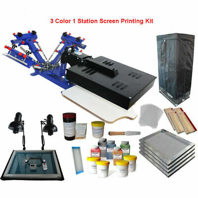 Updated 3color 1station Silk Screen Printing Kit Flash Dryerexposure Diy Supply