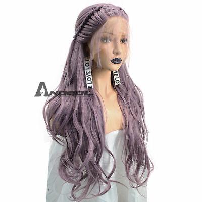 Cabelo Purple Braided Lace Front Synthetic Wig With Baby Hair Wavy Wedding Wigs comprar usado  Enviando para Brazil