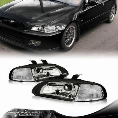 92-95 Honda Civic 2/3DR CX DX EX Si Black Housing Headlights + Chrome Reflector