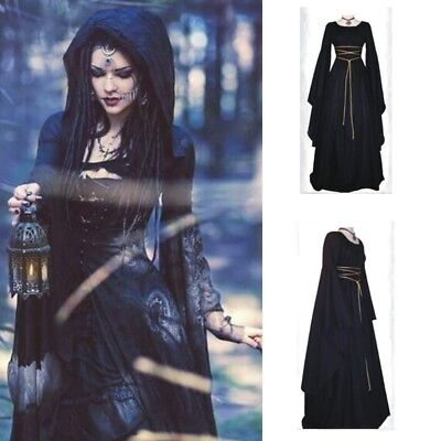 Halloween Cosplay Costumes Scary Vampire Witch Clothes Medieval Prom Maxi Dress - Medieval Clothing