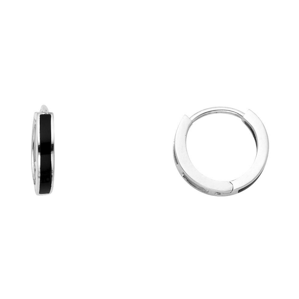 b65299cae24 Details about Small Onyx Huggie Hoop Earrings Solid 14k White Gold Huggies  Round Black Tiny