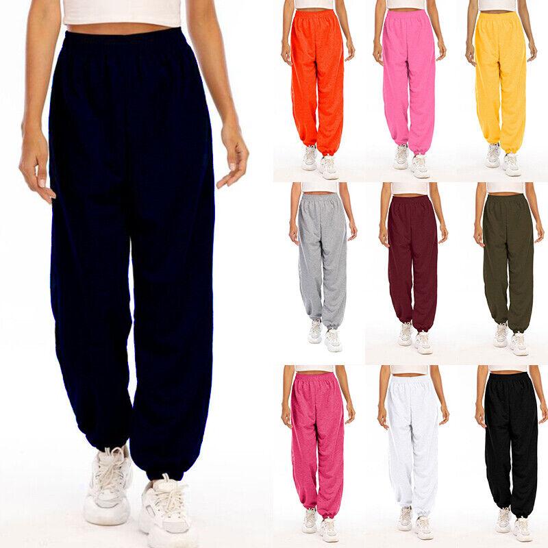 Womens Unisex Plain Sweatpants Pocket Casual Joggers Fleece Pants Gym Trousers