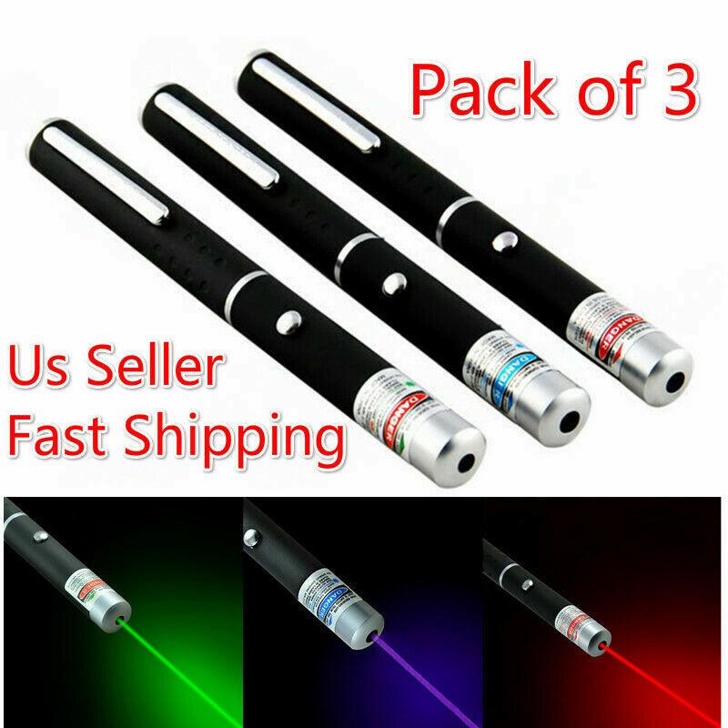 3 Packs 900Mile Green Blue Purple Red Laser Pointer Pen Visible Beam Lazer 1 mW
