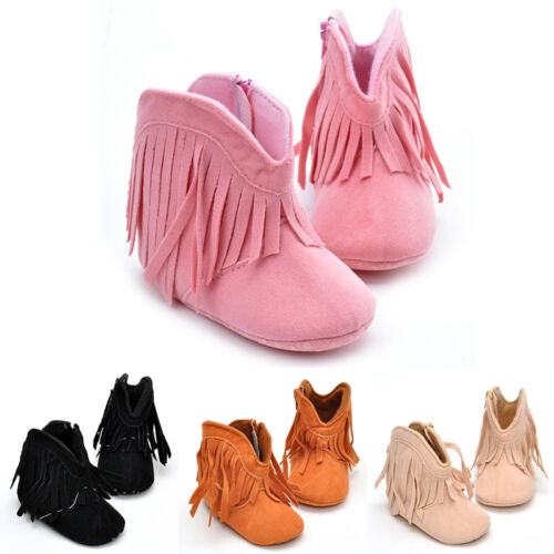 Infant Baby Girls Tassel Cowboy Boots Toddler Booties Shoes