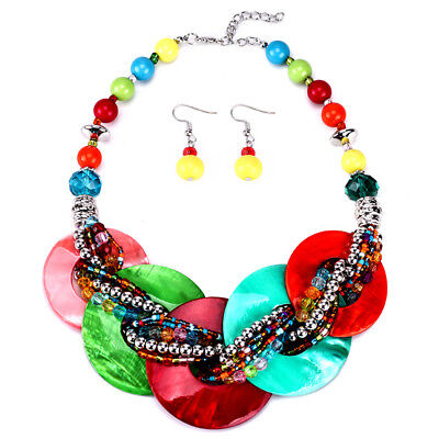 Fashion Women Boho Necklace Colorful Shell Beads Collars Bohemian Jewelry Sets - Fashionable Shell Beads Necklace
