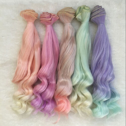 12# 25cm Long  Colorful Ombre Curly Wave Doll Wigs Synthetic Hair For Dolls Hot