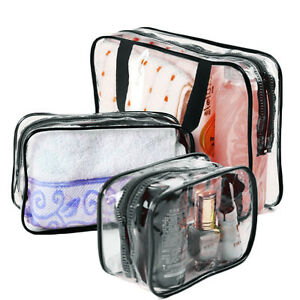 3pcs-Makeup-Toiletry-Clear-PVC-Travel-Wash-Bag-Holder-Pouch-Set-Black
