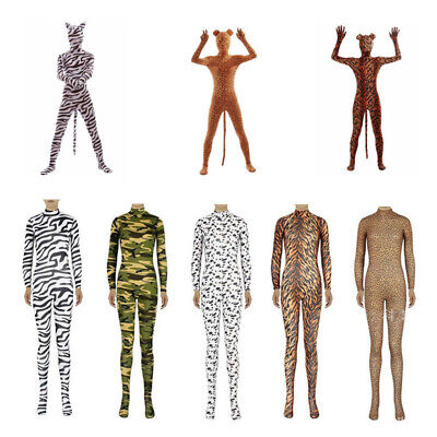 Zebra Leopard Catsuit Animal Zentai Jumpsuit Stage Make Up Halloween Adult Kid - Zebra Halloween Makeup