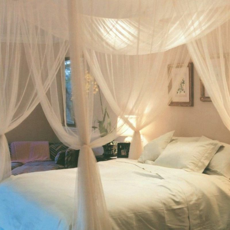 Full Queen King Size 4 Corner Post Bed Canopy Mosquito Net Bedroom Mesh Curtain