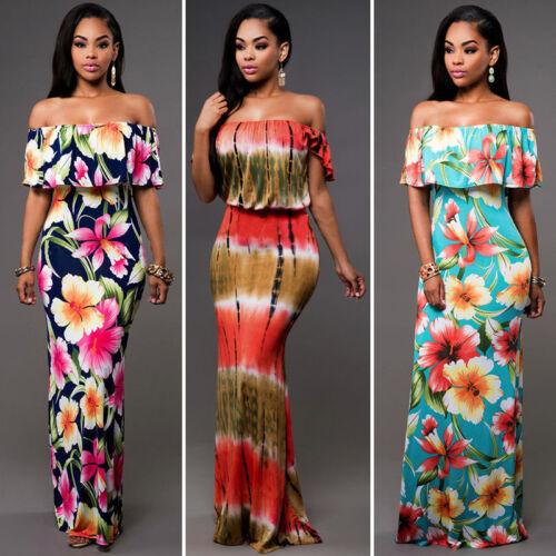 Dress - US Women Summer Dress Boho Maxi Long Evening Party Dress Beach Dress Sundress