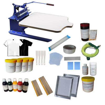 1 Color Screen Printing Kit Start Hobby Shirt Press Machine Ink Squeegee Tools