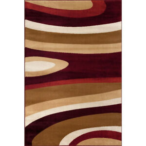 NEW Modern Large Abstract Burgundy & Browns Area Rug - 7'10x10'2