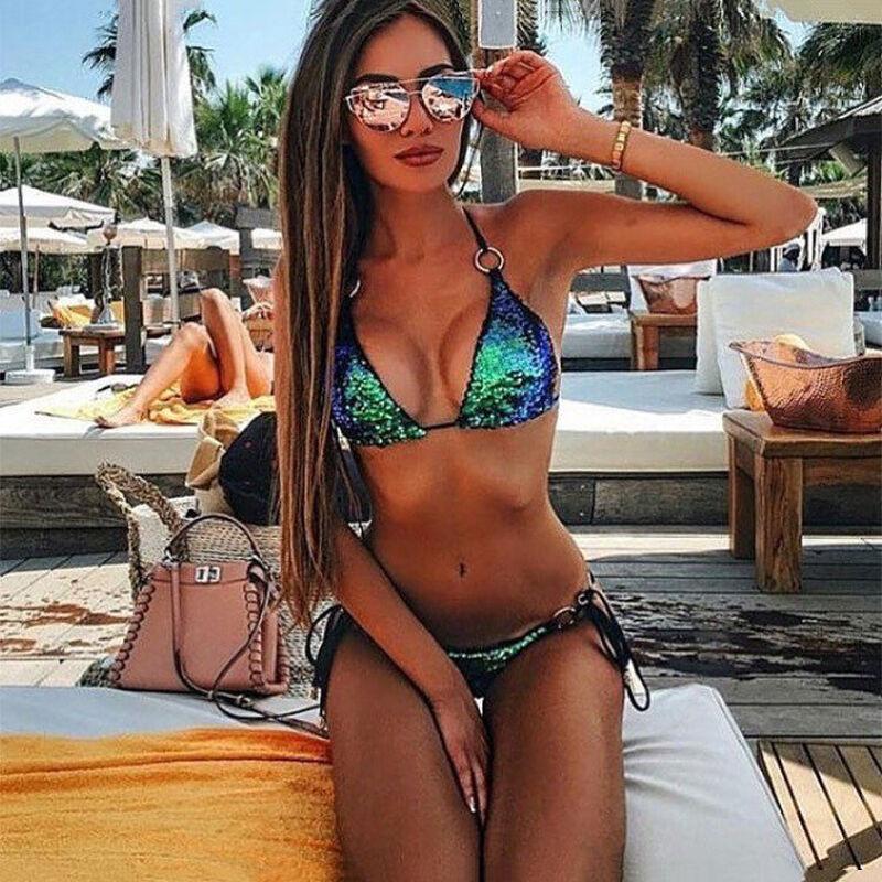 Women Brazilian Bikini Set Push Up Swimwear Sequin Bra Bottom Bathing Swimsuit