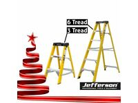 JEFFERSON 3 & 6 TREAD FIBREGLASS STEP LADDER TWIN PACK