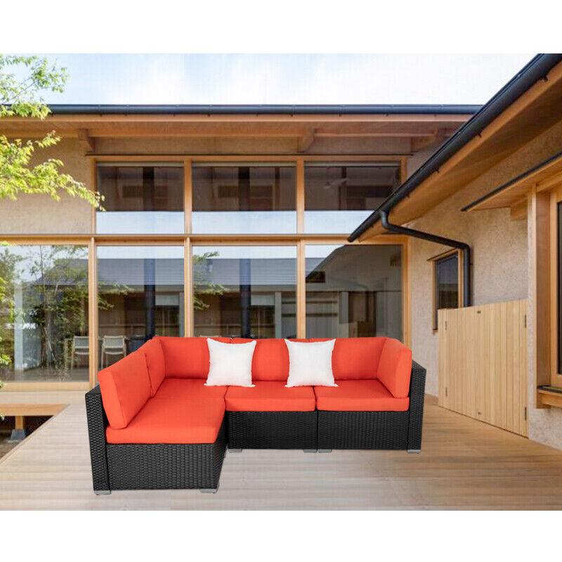 Garden Furniture - Outdoor Rattan Wicker Sofa Set Patio Furniture Garden Sectional Cushioned Sofa