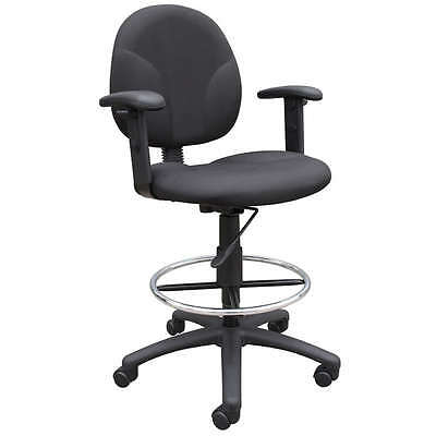 Black Mid Back Drafting Office Chair Stool Wfootring