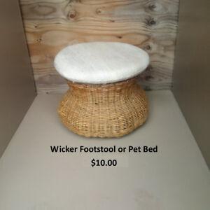 Wicker Footsool or Pet Bed For Sale