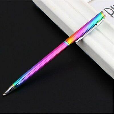 Rainbow Color Slim Metallic Retractable Ballpoint Pens With Black Ink Office Gel