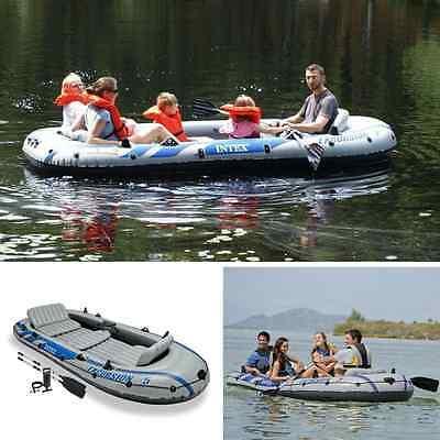 Inflatable Fishing Boat Kayak Rafting Zodiac Aluminum Oars Air Pump 5 Person NEW