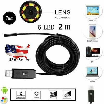 USB Endoscope Waterproof 7mm 6 LED 2M Length Camera Inspection for Android PC