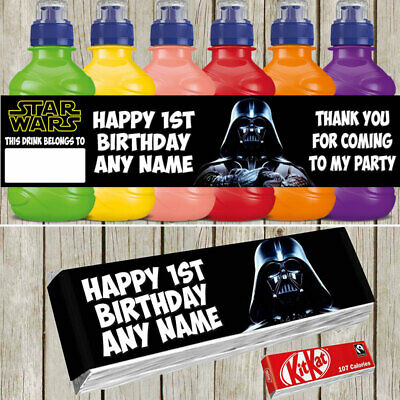 x7 Star Wars Personalised Self Adhesive Fruitshoot KitKat Label Birthday Party