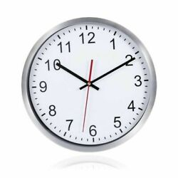 12'' Non-Ticking Silent Decorative Silver Frame Wall Clock Creative with Hook US